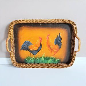 Large vintage serving tray with roosters.